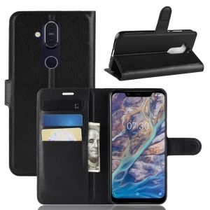 Litchi Skin Wallet Leather Stand Case for Nokia 8.1 / X7 (China) - Black