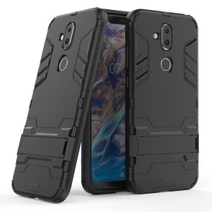 Cool Guard Plastic + TPU Hybrid Case with Kickstand for Nokia 8.1 / X7 - Black