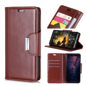 PU Leather Wallet Stand Case for Nokia 9 - Brown
