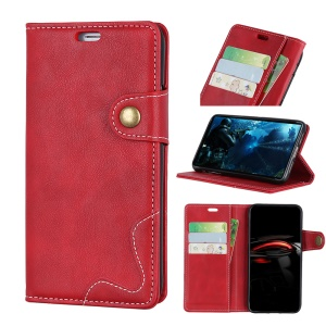 S-shape Textured Leather Wallet Cover for Nokia 9 PureView - Red