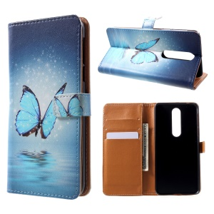 Pattern Printing Wallet Stand Leather Case for Nokia 7.1 - Blue Butterfly
