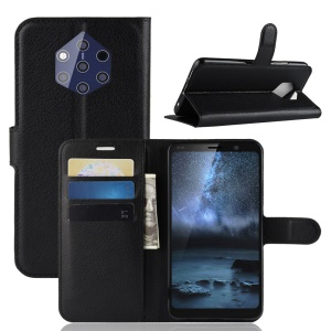 Litchi Skin Wallet Leather Stand Case for Nokia 9 PureView PureView - Black