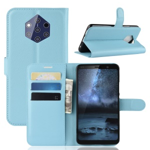 Litchi Skin Leather Wallet Cover for Nokia 9 PureView PureView - Baby Blue