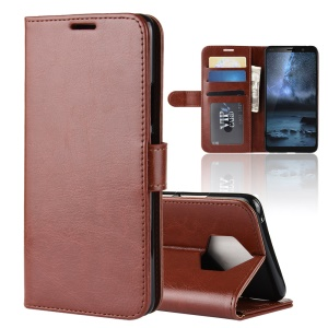 Crazy Horse Wallet Magnetic Leather Shell Cover for Nokia 9 PureView - Brown