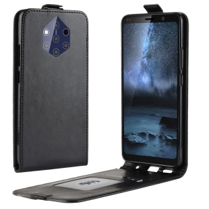 Crazy Horse Vertical Flip Leather Case with Card Holder for Nokia 9 PureView - Black