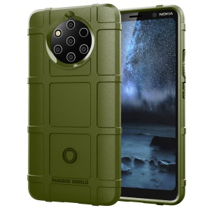 Rugged Shield Anti-shock Square Grid Texture TPU Shell Casing for Nokia 9 PureView - Army Green