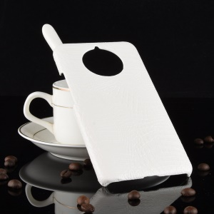 Crocodile Texture PU Leather Coated PC Phone Cover for Nokia 9 PureView - White