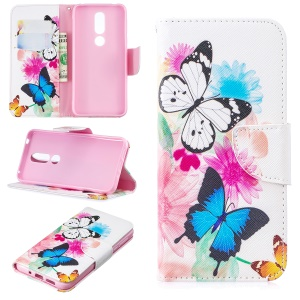 Pattern Printing PU Leather Phone Case for Nokia 7.1 - Butterflies and Flowers