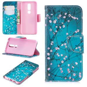 Pattern Printing PU Leather Phone Cover for Nokia 7.1 - Tree with Flowers