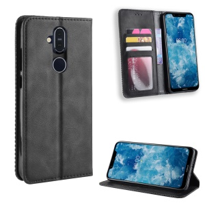Vintage Style PU Leather Cover with Stand Wallet for Nokia 8.1 / X7 - Black