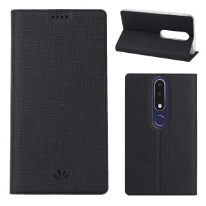 VILI DMX for Nokia 5.1 Plus / X5 (China) Cross Texture Auto-absorbed Card Holder Leather Case - Black