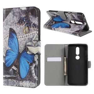 Pattern Printing Wallet Stand Leather Phone Cover for Nokia 7.1 - Blue Butterfly