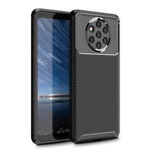 Carbon Fiber Texture Shockproof TPU Phone Cover for Nokia 9 PureView - Black