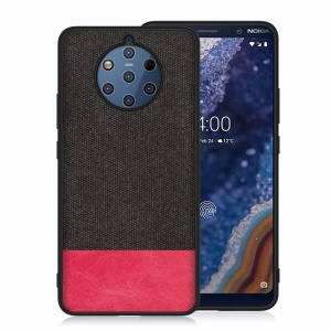 Cloth Texture PU Leather TPU Phone Case for Nokia 9 PureView - Black / Red