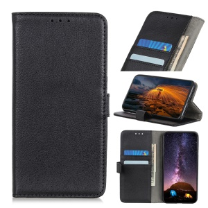 Litchi Texture Wallet Stand Leather Phone Case Cover for Nokia 4.2 - Black