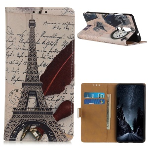 Pattern Printing Leather Wallet Case for Nokia 4.2 - Eiffel Tower and Characters
