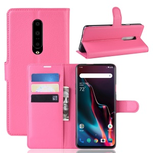 Litchi Texture Wallet Stand Leather Mobile Phone Case for OnePlus 7 Pro - Rose