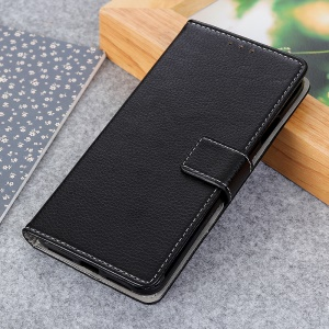 Litchi Grain PU Leather Protective Case with Wallet Stand for Nokia 1 Plus - Black
