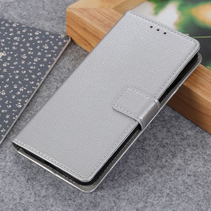 Litchi Grain PU Leather Protective Case with Wallet Stand for Nokia 1 Plus - Silver