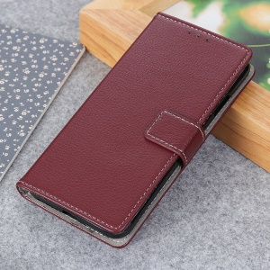 Litchi Grain PU Leather Protective Case with Wallet Stand for Nokia 1 Plus - Brown