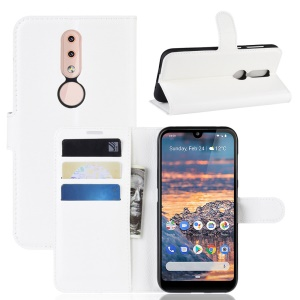 Litchi Skin PU Leather Stand Wallet Mobile Phone Cover Case for Nokia 4.2 - White