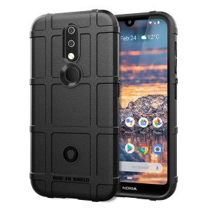 Rugged Square Grid Texture Anti-shock TPU Phone Cover for Nokia 4.2 - Black
