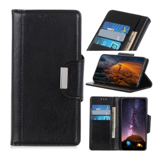 Glossy PU Leather Wallet Case for Nokia 4.2 - Black