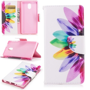 Pattern Printing Leather Wallet Case for Nokia 3 - Colorful Petals