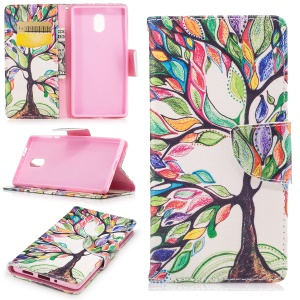 Pattern Printing Leather Wallet Cover for Nokia 3 - Colorized Tree