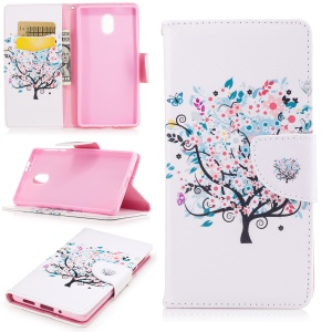 Pattern Printing PU Leather Wallet Case for Nokia 3 - Flowered Tree