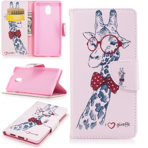 Pattern Printing Folio Leather Wallet Case for Nokia 3 - Adorable Giraffe Wearing Glasses