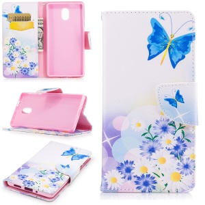 Pattern Printing Leather Stand Cover with Card Slots for Nokia 3 - Blue Butterfly and Flowers