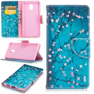 Pattern Printing Wallet Leather Folio Case for Nokia 3 - Tree with Flowers