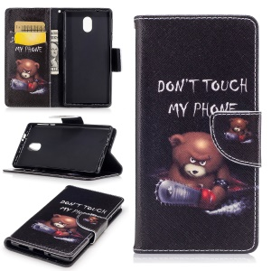 Pattern Printing Wallet Leather Protective Case for Nokia 3 - Brown Bear and Warning Words