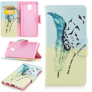 Pattern Printing Stand Leather Wallet Case for Nokia 3 - Feather Pattern