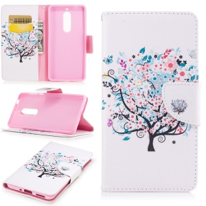 Pattern Printing Leather Wallet Case for Nokia 5 - Flowered Tree