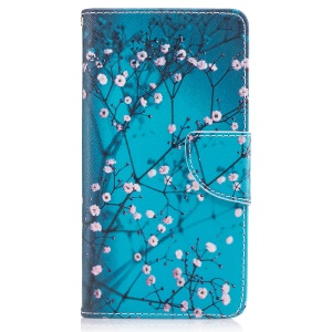 Pattern Printing Leather Wallet Cover for Nokia 5 - Tree with Flowers