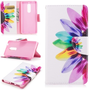 Pattern Printing Leather Wallet Case Cover for Nokia 5 - Colorful Petals