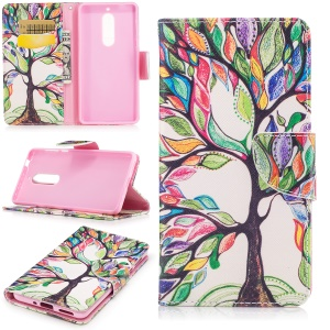 Pattern Printing Leather Wallet Cover Case for Nokia 5 - Colorized Tree