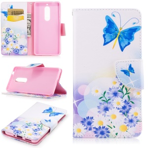 Pattern Printing PU Leather Wallet Case for Nokia 5 - Blue Butterfly and Flowers
