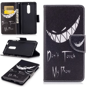 Pattern Printing Phone Leather Wallet Case for Nokia 5 - Do not Touch My Phone