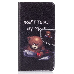 Pattern Printing Wallet Leather Magnetic Case for Nokia 5 - Brown Bear and Warning Words
