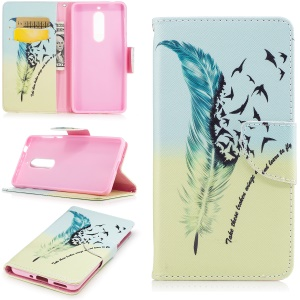 Pattern Printing Leather Wallet Case Accessory for Nokia 5 - Feather Pattern