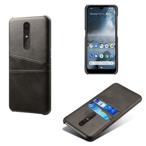 Double Card Slots PU Leather Coated PC Cell Phone Cover for Nokia 4.2 - Black