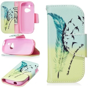 Pattern Printing Leather Wallet Cover for Nokia 3310 (2017) - Feather Pattern