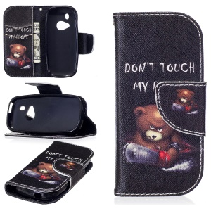 Pattern Printing Wallet Leather Cell Phone Case para Nokia 3310(2017) - Brown Bear e advertência palavras