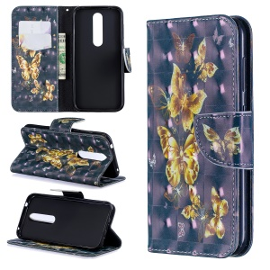 Pattern Printing Stand Wallet Leather Cell Phone Case for Nokia 4.2 - Gold Butterfly