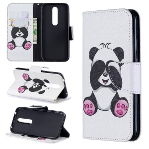 For Nokia 4.2 Pattern Printing Leather Stand Wallet Case - Roses and Cute Panda
