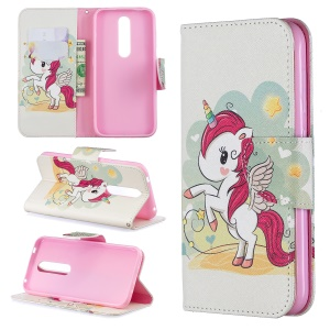 Pattern Printing PU Leather Wallet Cover for Nokia 4.2 - Unicorn