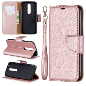 Litchi Skin Leather Wallet Case for Nokia 4.2 - Rose Gold